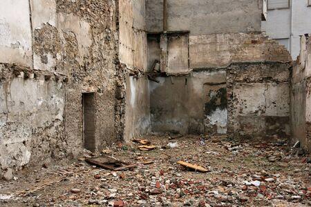 gloomy: Urban ruins background. Gloomy architecture in Orihuela, Spain. Demolition townscape.