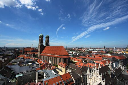 frauenkirche: Cityscape of Munich, Bavaria, Germany seen from the top of city hall. Frauenkirche - cathedral.