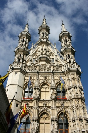 Famous Leuven Town Hall, landmark of Flemish Brabant region in Belgium. Architecture in Brabantine Late Gothic style. Build in 1448-1469 on Grote Markt (Main Square). Stock Photo - 4070962