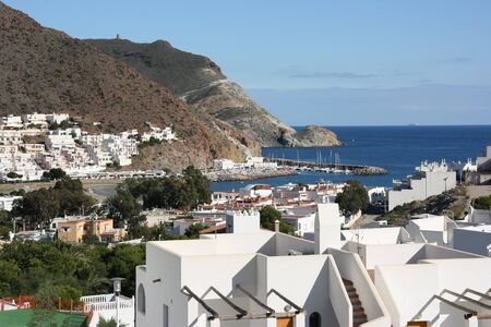 jose: Beautiful Mediterranean seaside town. San Jose in Cabo de Gata natural park near Almeria, Spain. Stock Photo