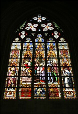 Saint Michel and Gudula Cathedral in Brussels. Beautiful stained glass art. Stock Photo - 4094769