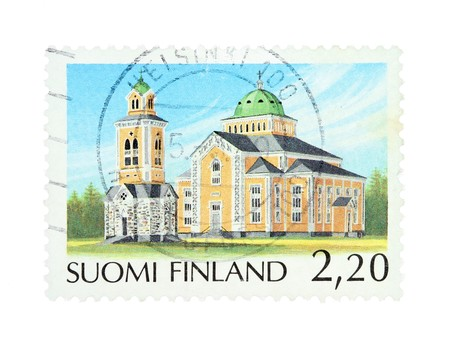collectible: Collectible old stamp from Finland. Stamp with Kerimaki church