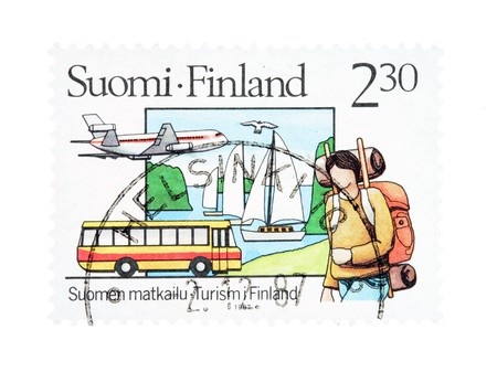 collectible: Collectible old stamp from Finland. Stamp with tourism theme.