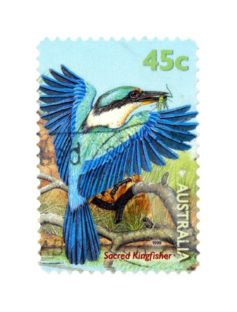 collectible: Collectible old stamp from Australia. Stamp with sacred kingfisher bird.