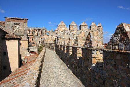 avila: Avila cathedral seen from the medieval city walls. Spanish landmarks in Castilia region.