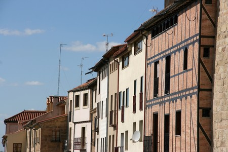 Street view in Salamanca, Castilla, Spain. Typical houses. Stock Photo - 4156925
