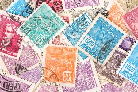 Colorful postage stamps collection from Brazil, South America. Old collection.