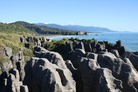 australasia: Famous natural landmark in Paparoa National Park - Punakaiki or Pancake Rocks in New Zealand Stock Photo