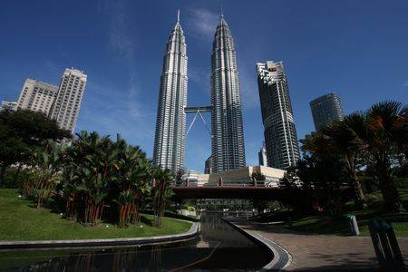 twin tower: Twin Towers - famous landmark of Kuala Lumpur, Malaysia. Second and third tallest building in the world, as of 2009. Editorial