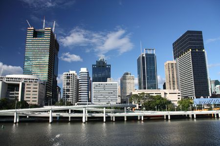 qld: Brisbane, Queensland. Beautiful city and the river. Australia summer.