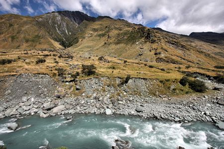 Mount Aspiring National Park in New Zealand. Glacial river. Stock Photo - 4685198