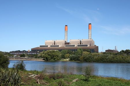 Huntly Power Station - the largest thermal power plant in New Zealand. Supplies 17% of country's power, as of 2009. It is coal and gas powered. Stock Photo - 4685421