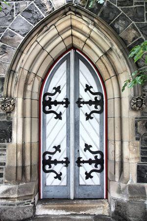 Durham Street Methodist Church in Christchurch, New Zealand. Old wooden door.