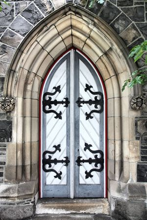 Durham Street Methodist Church in Christchurch, New Zealand. Old wooden door. Stock Photo - 4685196