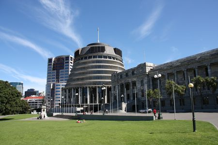 parliament square: Beehive building - Parliament of New Zealand in Wellington city