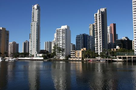 daytime: Apartment buildings - Surfers Paradise town in Gold Coast region of Queensland, Australia