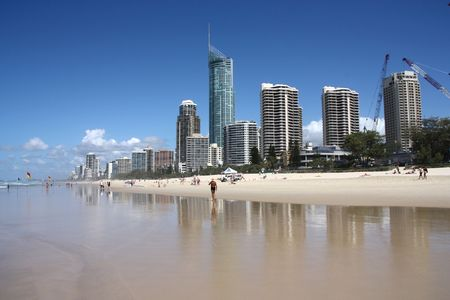 Apartment buildings with prominent Q1, tallest residential building in the world - Surfers Paradise town in Gold Coast region of Queensland, Australia