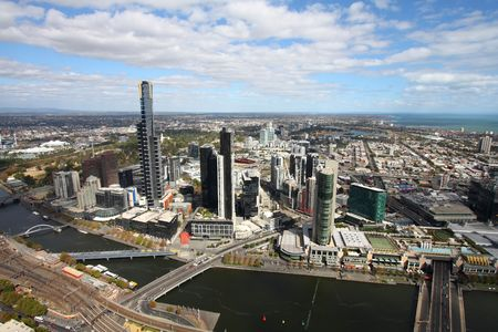 Beautiful cityscape of Melbourne and Yarra River. The prominent building is Eureka Tower, which is the worlds tallest residential tower when measured to its highest floor. Stock Photo