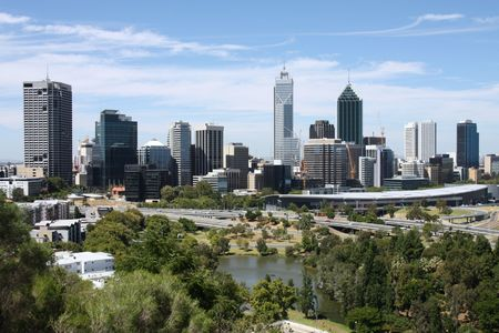 perth: Perth skyline from Kings Park. Australian city view. Stock Photo