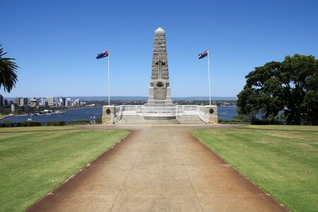 State War Monument at Kings Park, Perth, Western Australia. Swan River in the background. photo