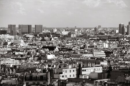 montmartre: Cityscape of Paris seen from Montmartre hill. Black and white.