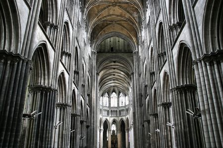 Gigantic gothic cathedral in Rouen, France. Beautiful interior.