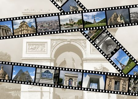 slideshow: Illustration - film strips with travel photos. Paris in France. All photos taken by me.