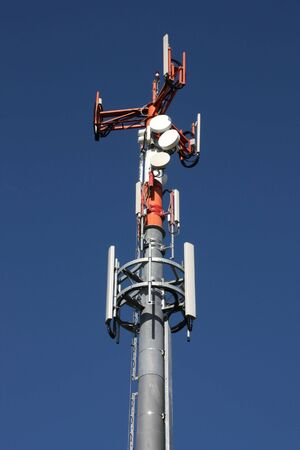 the antennae: Telecom tower - mast with various antennae. GSM telecommunications.