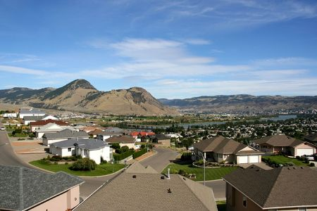 columbia district: Panorama of Canadian city - Kamloops (Westsyde district) in British Columbia