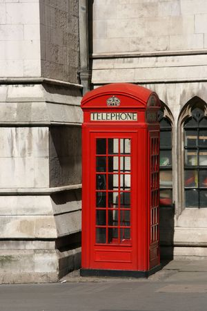 London, typical red telephone booth - symbol of Great Britain. Stock Photo