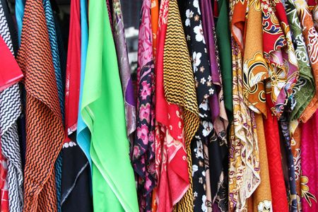 georgetown: Colorful cloth with various patterns at a market in Georgetown, Penang Island, Malaysia Stock Photo