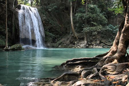 Beautiful waterfall in Thailands Erawan Waterfalls National Park. Kanchanaburi region. photo