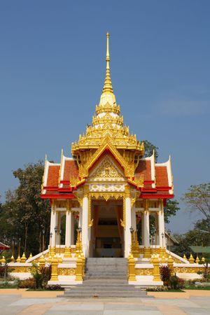 kanchanaburi: Thai Buddhist temple in Kanchanaburi, Thailand. Golden architecture.