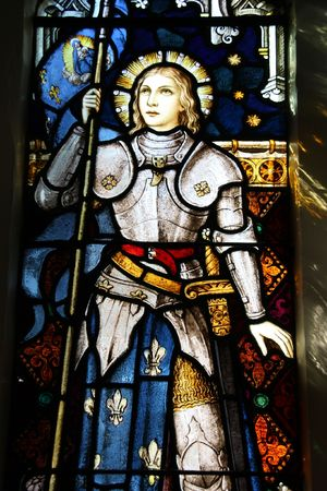 church window: Stained glass in St Mary of the Angels, Wellington, New Zealand. Roman Catholic church. Famous national heroine of France: saint Joan of Arc. Editorial