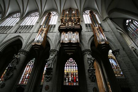 St. Michael and St. Gudula Cathedral located at the Treurenberg hill in Brussels, Belgium. Gothic church interior with beautiful organ. Stock Photo - 4908677