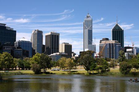 Perth view from John Oldany park. Australian city water reflection.