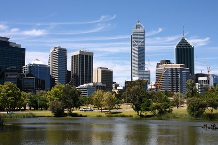 perth: Perth view from John Oldany park. Australian city water reflection.