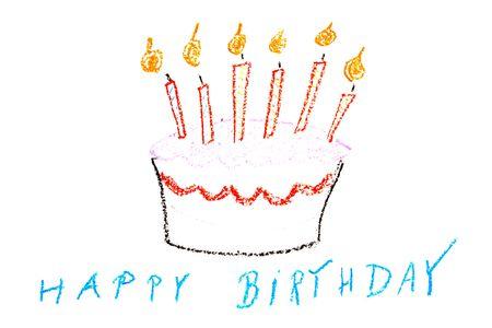 Child drawing of a birthday cake made with wax crayons Zdjęcie Seryjne