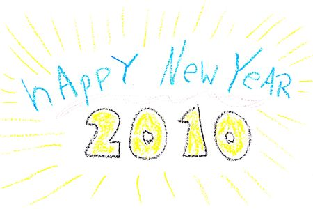 child drawing of new year wishes made with wax crayons stock photo 4919892