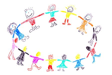 Child drawing of a colorful dancing children made with wax crayons Stock Photo
