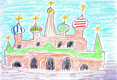 basil: Child drawing of St. Basil Cathedral in Moscow made with wax crayons