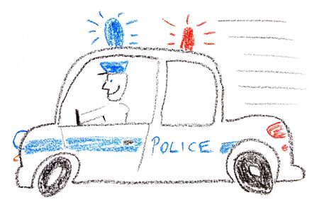 Child drawing of a police car made with wax crayons photo