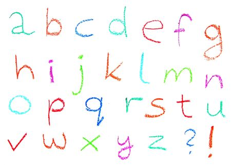 Child drawing of alphabet made with wax crayons Stock Photo - 4919895