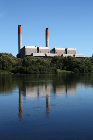 Huntly Power Station - the largest thermal power plant in New Zealand. Supplies 17% of country's power, as of 2009. It is coal and gas powered. Stock Photo - 4949427