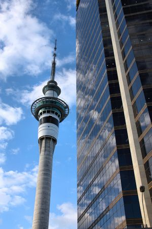tallest: Sky Tower in Auckland CBD. Tallest free-standing structure in the Southern Hemisphere. Observation and telecommunications tower next to a skyscraper.