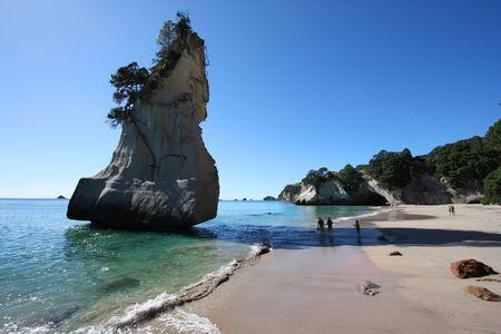 peninsula: Famous Cathedral Cove at Coromandel peninsula. New Zealand, North Island. Stock Photo