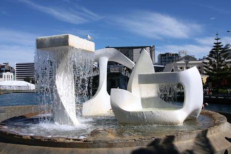 wellington: Modern art fountain in Wellington - capital city of New Zealand Stock Photo