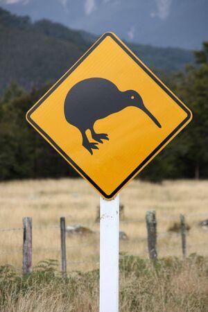 australasia: Wildlife warning in New Zealand. Caution, kiwi crossing!