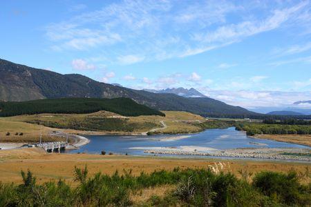 aotearoa: Waiau River dam - beautiful landscape in Canterbury region, New Zealand Stock Photo
