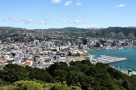 australasia: Aerial view of Wellington CBD. North Island, New Zealand.